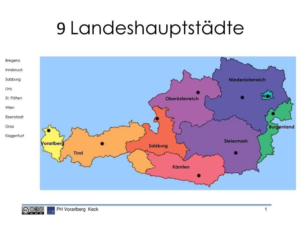 9 Landeshauptstädte Tirol Niederösterreich Oberösterreich Burgenland
