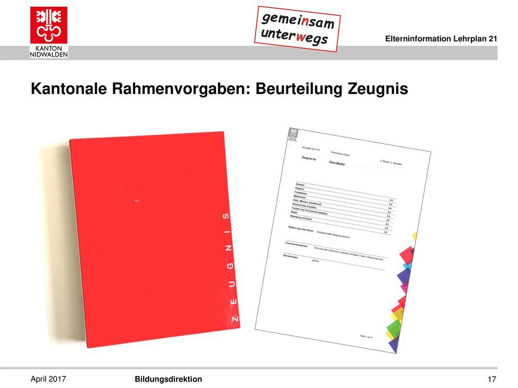Kantonale Rahmenvorgaben: Beurteilung Zeugnis