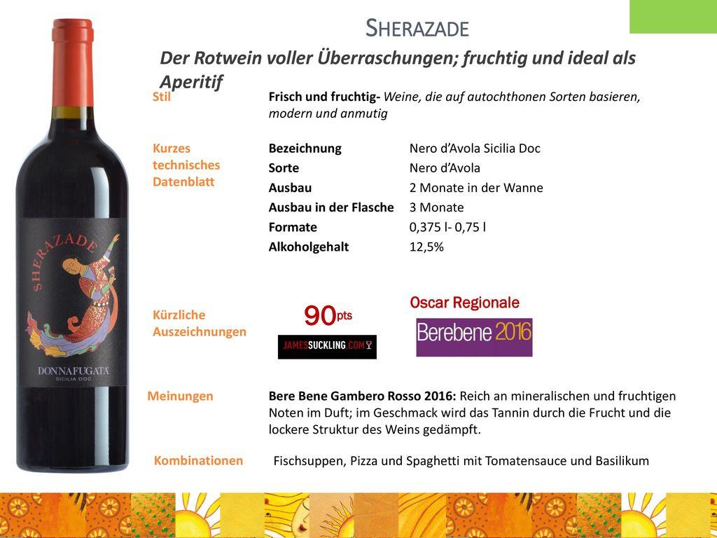 Sherazade Der Rotwein voller Überraschungen; fruchtig und ideal als Aperitif. Stil.