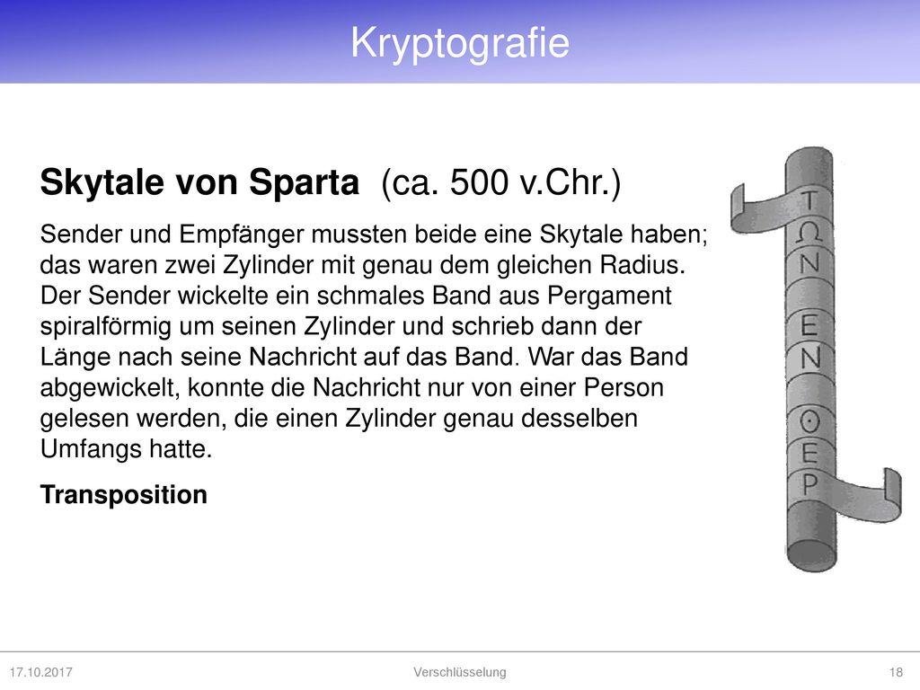Kryptografie Skytale von Sparta (ca. 500 v.Chr.)