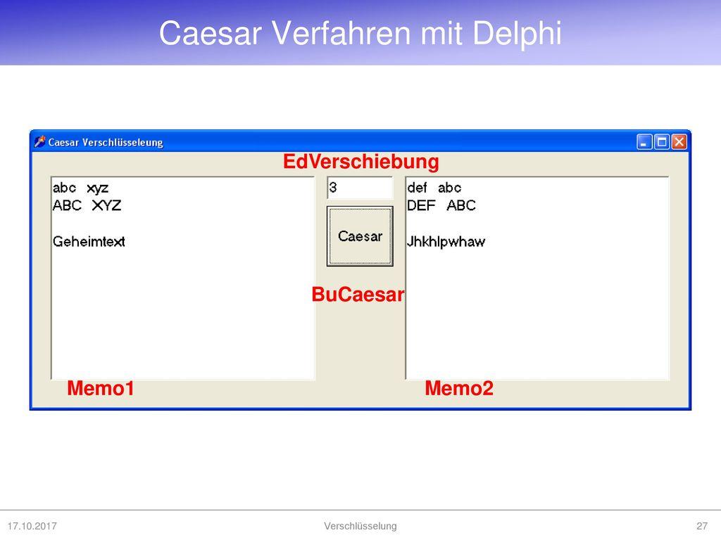 Caesar Verfahren mit Delphi