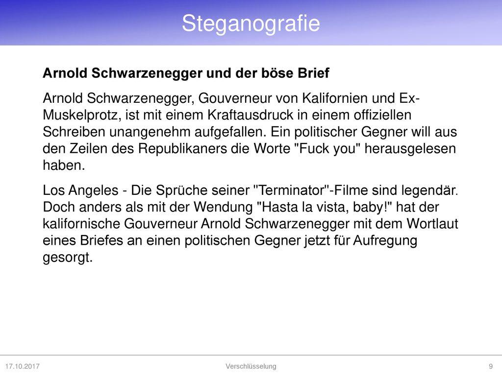 Steganografie Arnold Schwarzenegger und der böse Brief