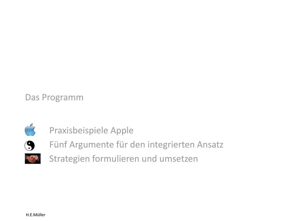 Das Programm Praxisbeispiele Apple. Fünf Argumente für den integrierten Ansatz.