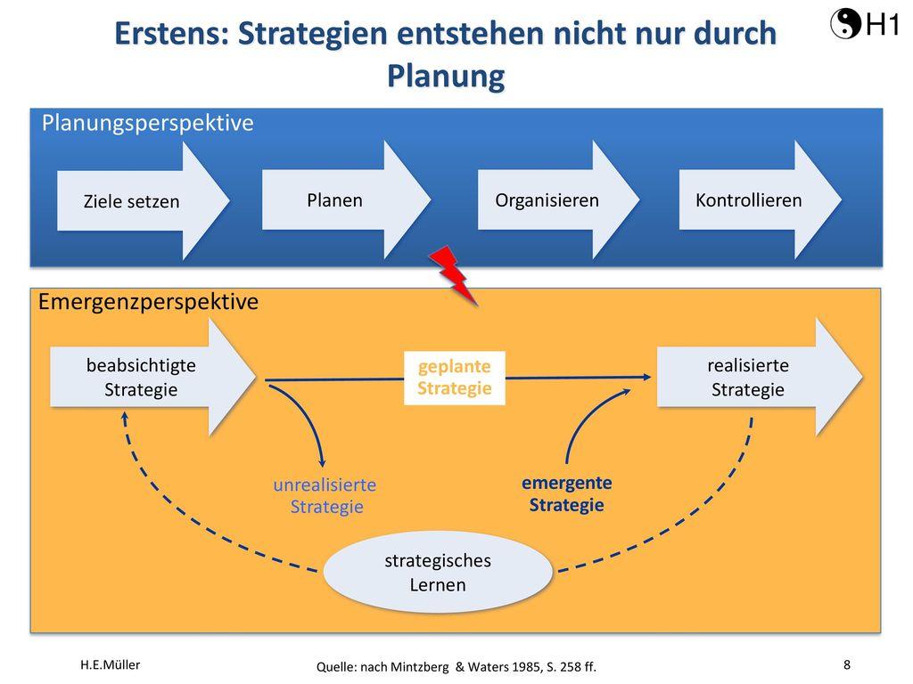 Erstens: Strategien entstehen nicht nur durch Planung