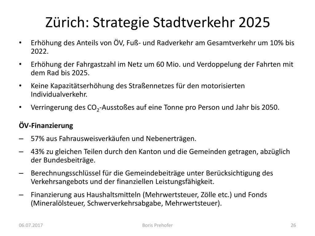 Zürich: Strategie Stadtverkehr 2025