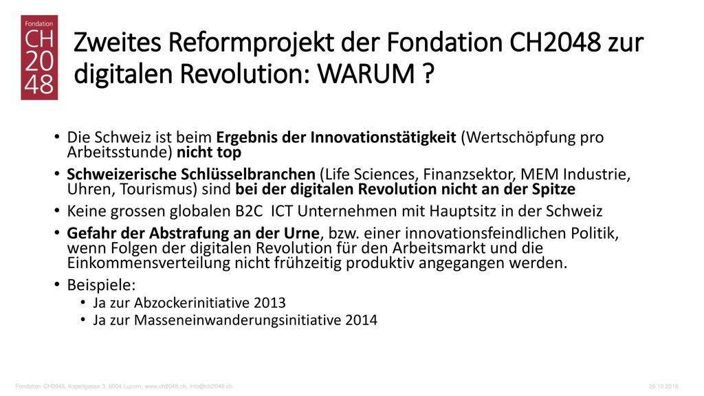 Zweites Reformprojekt der Fondation CH2048 zur digitalen Revolution: WARUM