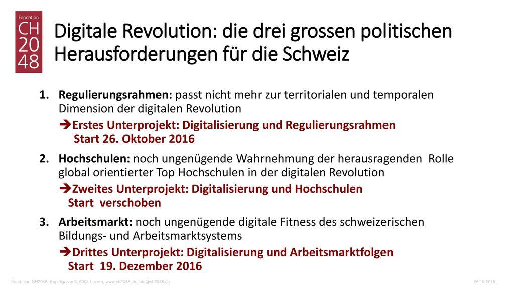 Digitale Revolution: die drei grossen politischen Herausforderungen für die Schweiz
