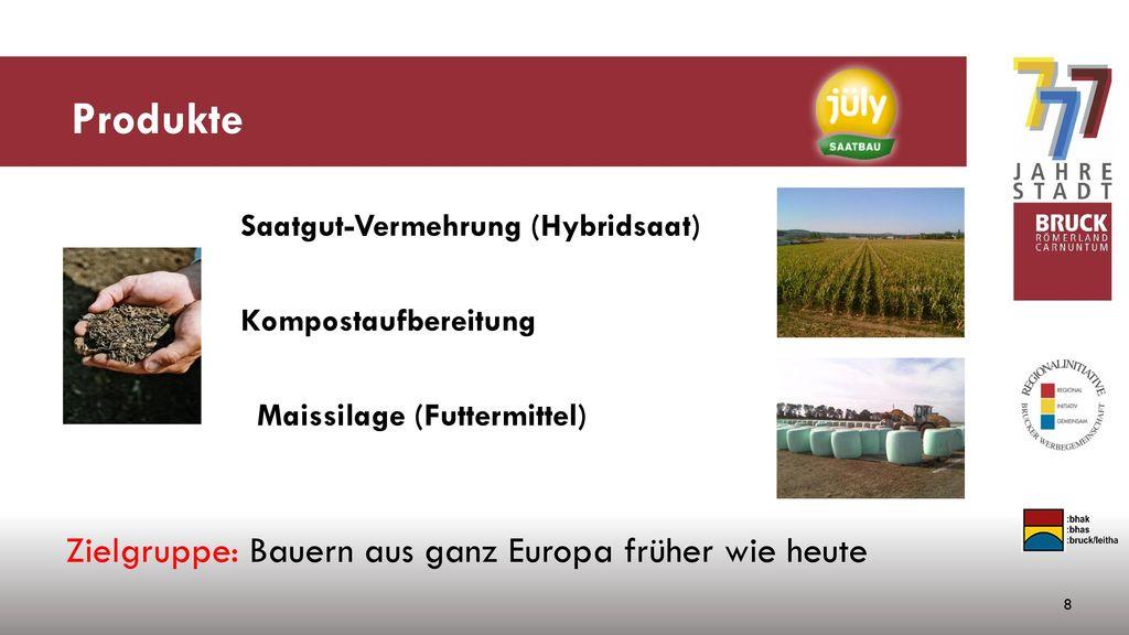 Produkte Zielgruppe: Bauern aus ganz Europa früher wie heute