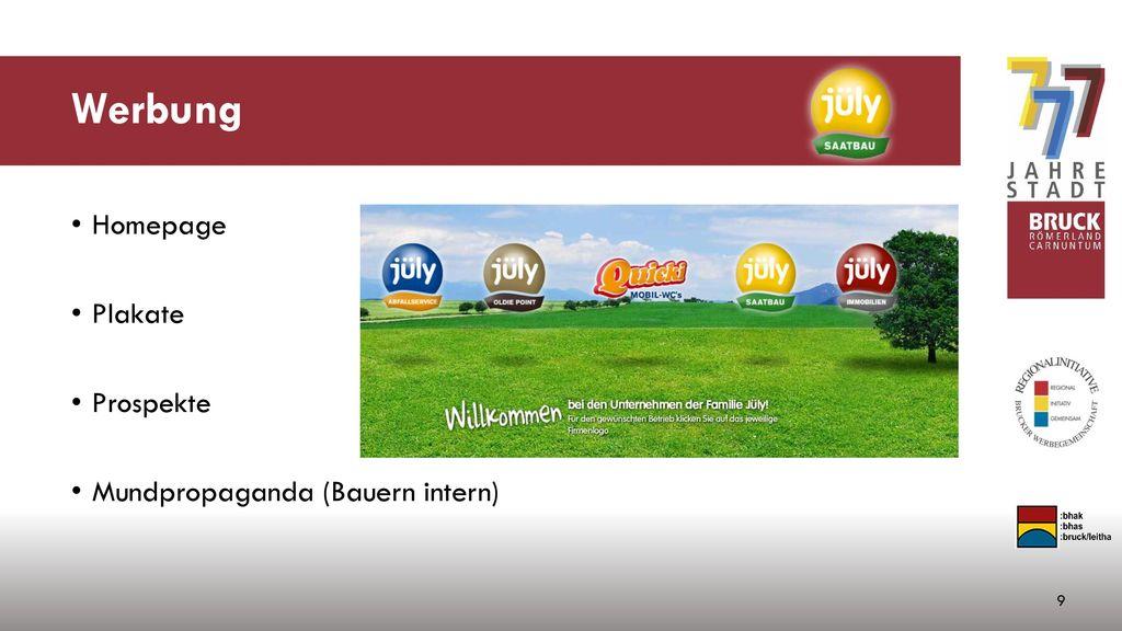 Werbung Homepage Plakate Prospekte Mundpropaganda (Bauern intern)