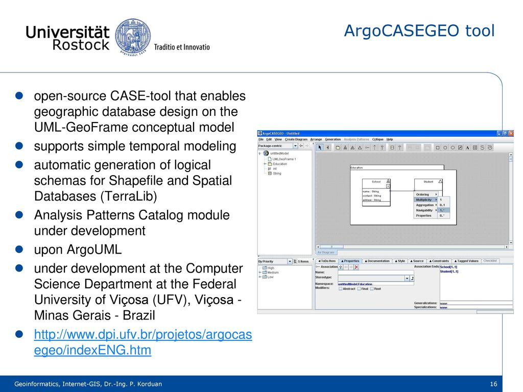 ArgoCASEGEO tool open-source CASE-tool that enables geographic database design on the UML-GeoFrame conceptual model.