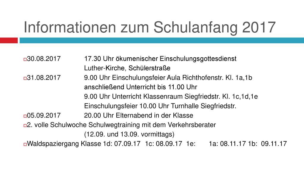 Informationen zum Schulanfang 2017