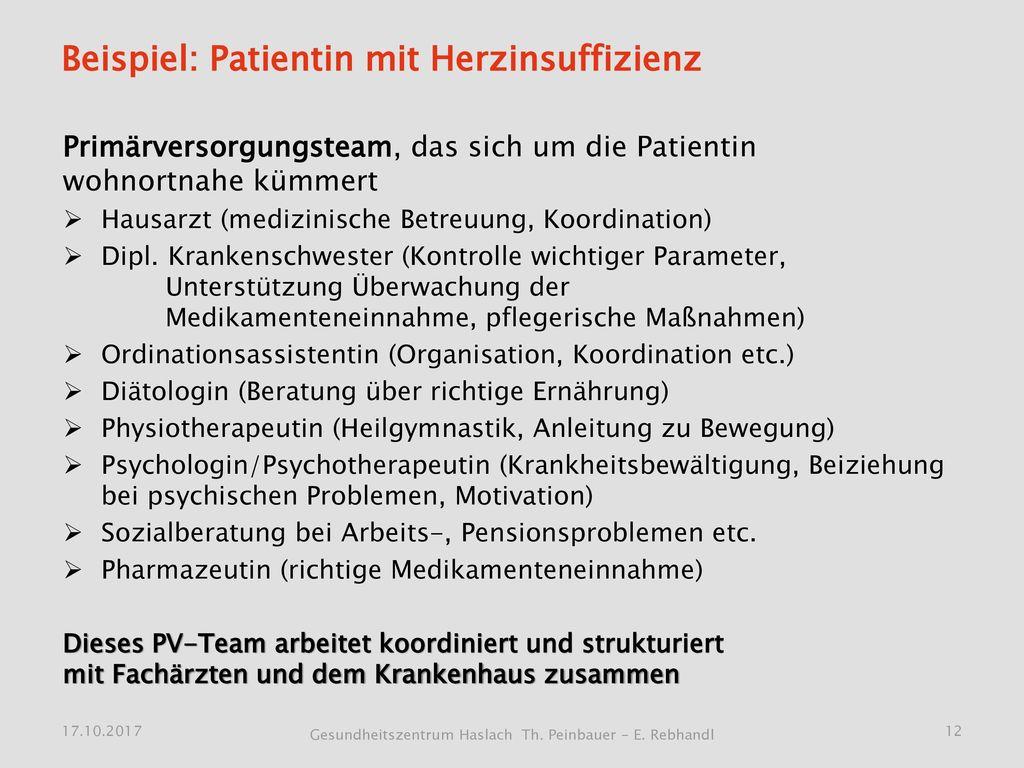 Beispiel: Patientin mit Herzinsuffizienz