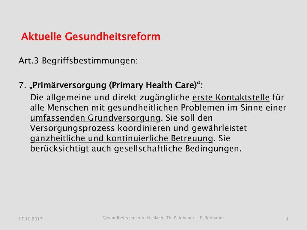 Aktuelle Gesundheitsreform