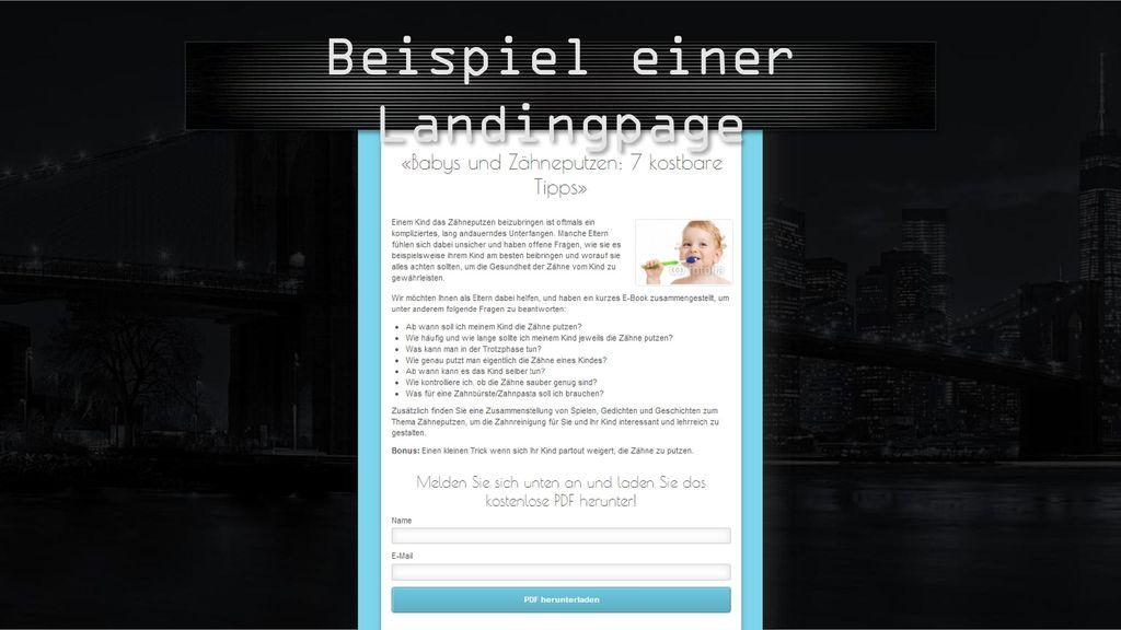 Beispiel einer Landingpage