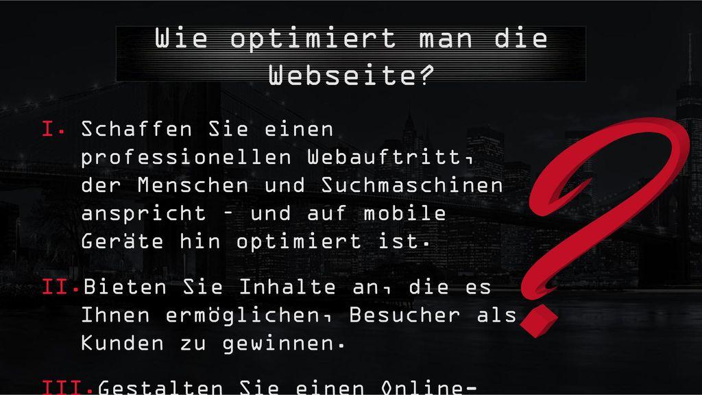 Wie optimiert man die Webseite