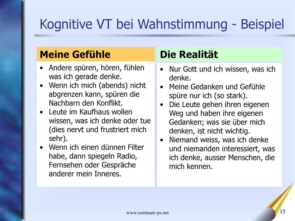 Kognitive VT bei Wahnstimmung - Beispiel
