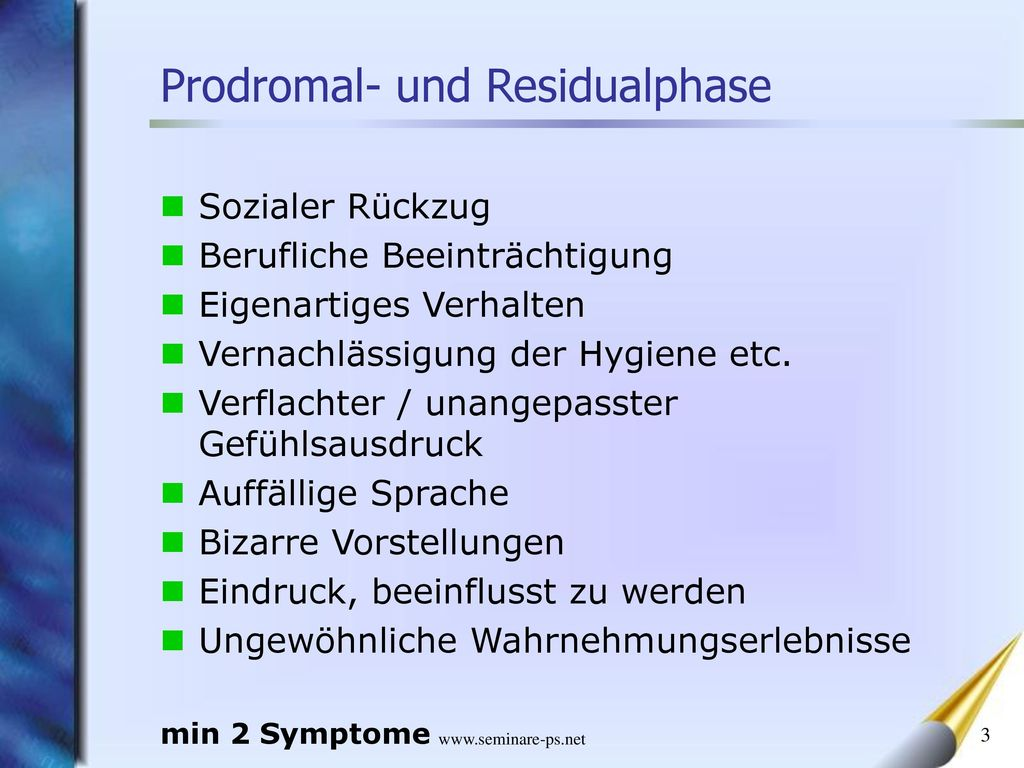 Prodromal- und Residualphase