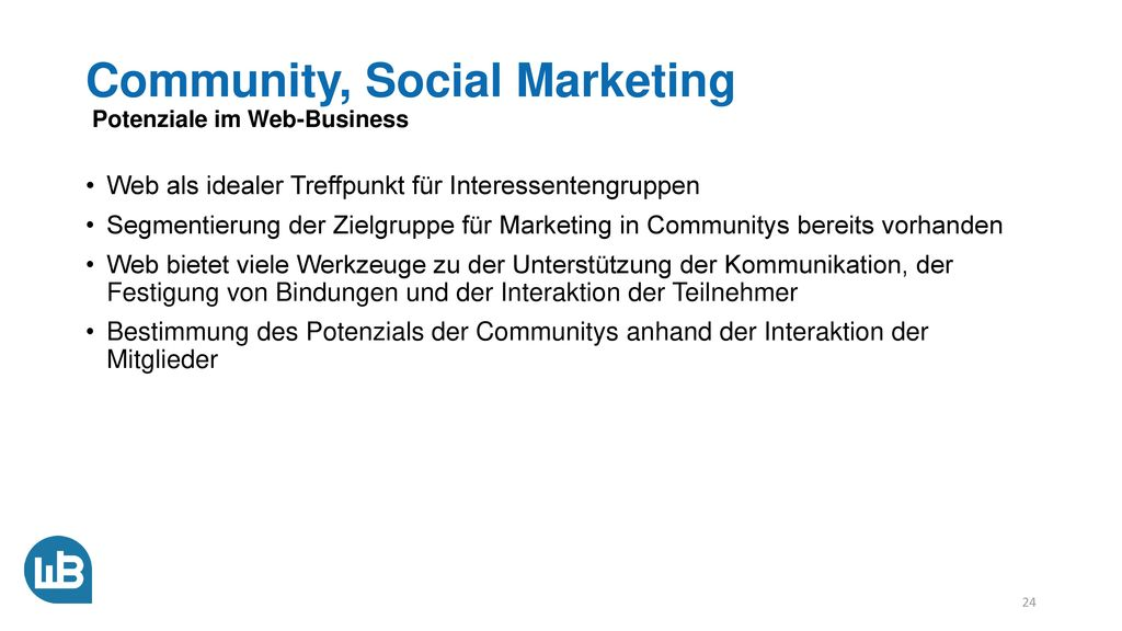 Community, Social Marketing Potenziale im Web-Business