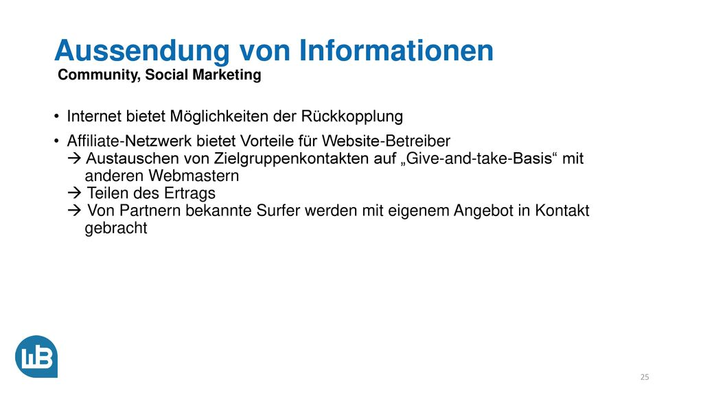 Aussendung von Informationen Community, Social Marketing