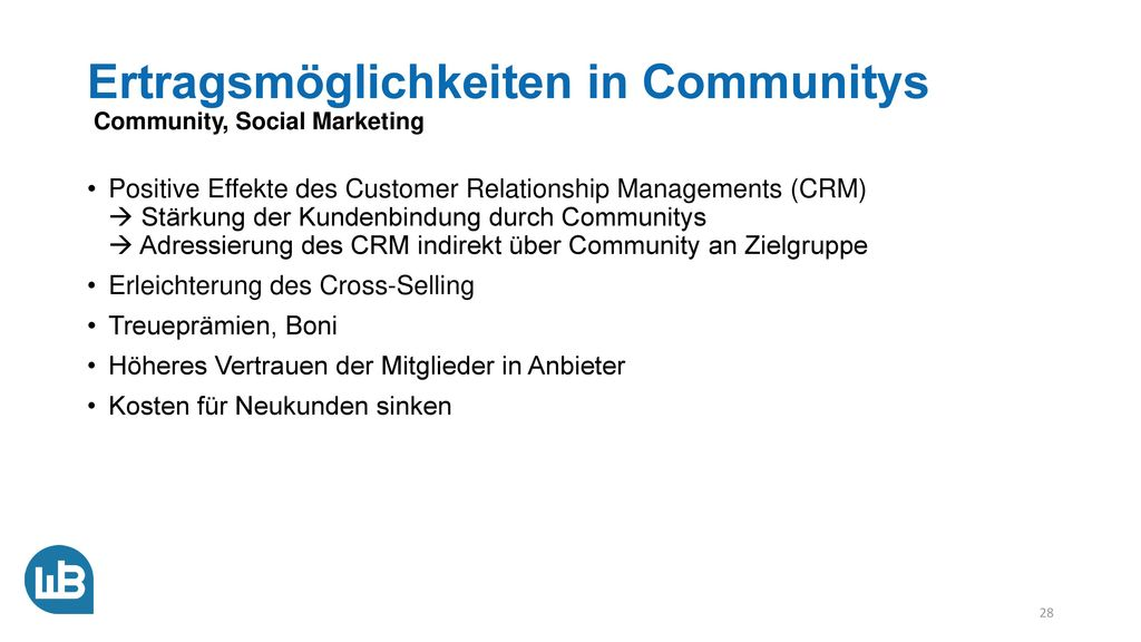 Ertragsmöglichkeiten in Communitys Community, Social Marketing