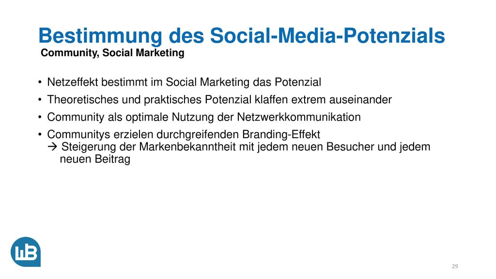 Bestimmung des Social-Media-Potenzials Community, Social Marketing