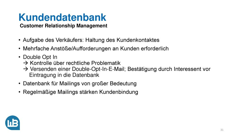 Kundendatenbank Customer Relationship Management