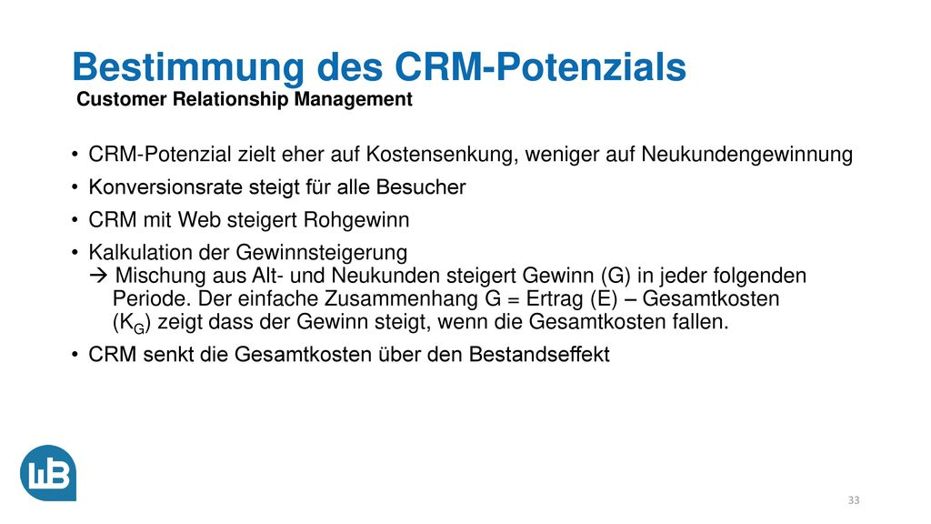 Bestimmung des CRM-Potenzials Customer Relationship Management