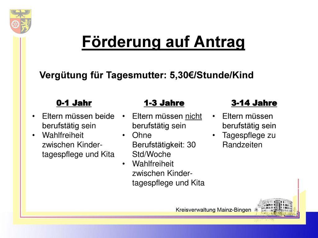 Förderung auf Antrag Vergütung für Tagesmutter: 5,30€/Stunde/Kind