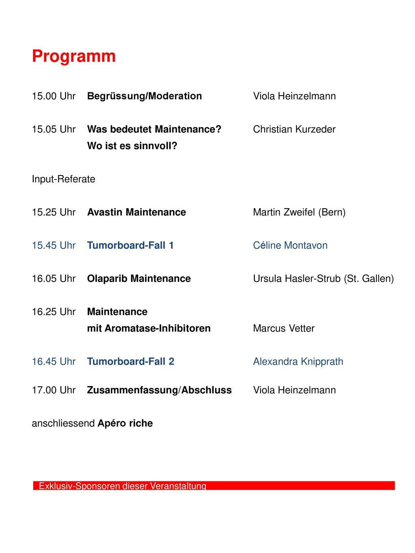 Programm 15.00 Uhr Begrüssung/Moderation Viola Heinzelmann