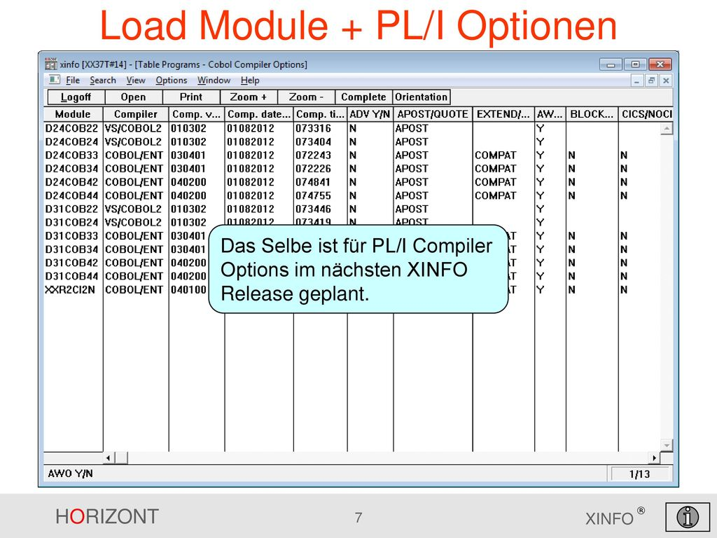 Load Module + PL/I Optionen