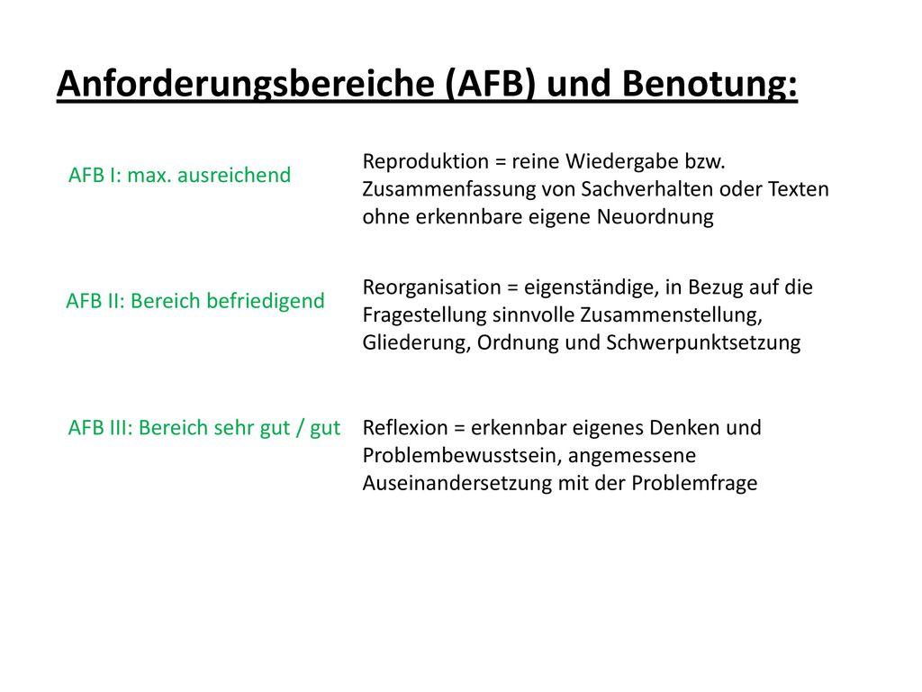 Anforderungsbereiche (AFB) und Benotung: