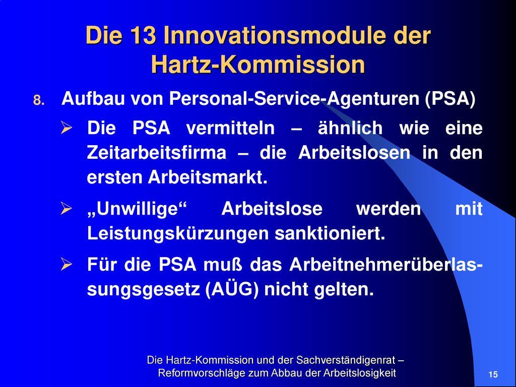 Die 13 Innovationsmodule der Hartz-Kommission