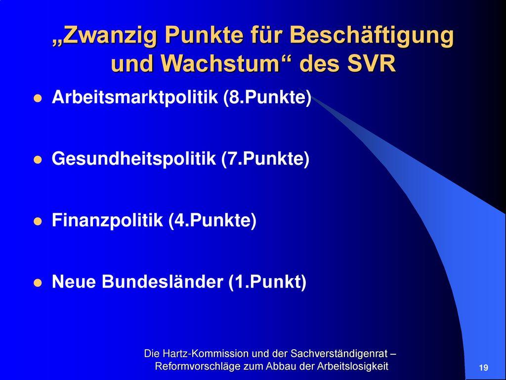 """""""Zwanzig Punkte für Beschäftigung und Wachstum des SVR"""