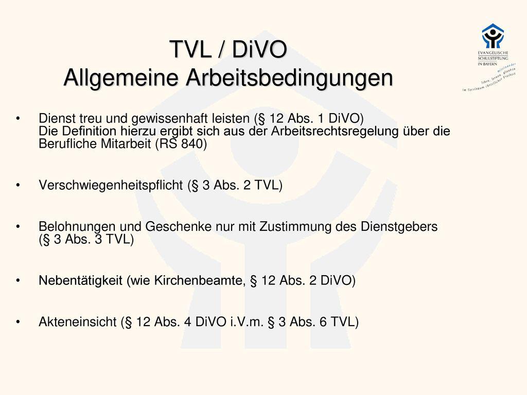 TVL / DiVO Allgemeine Arbeitsbedingungen