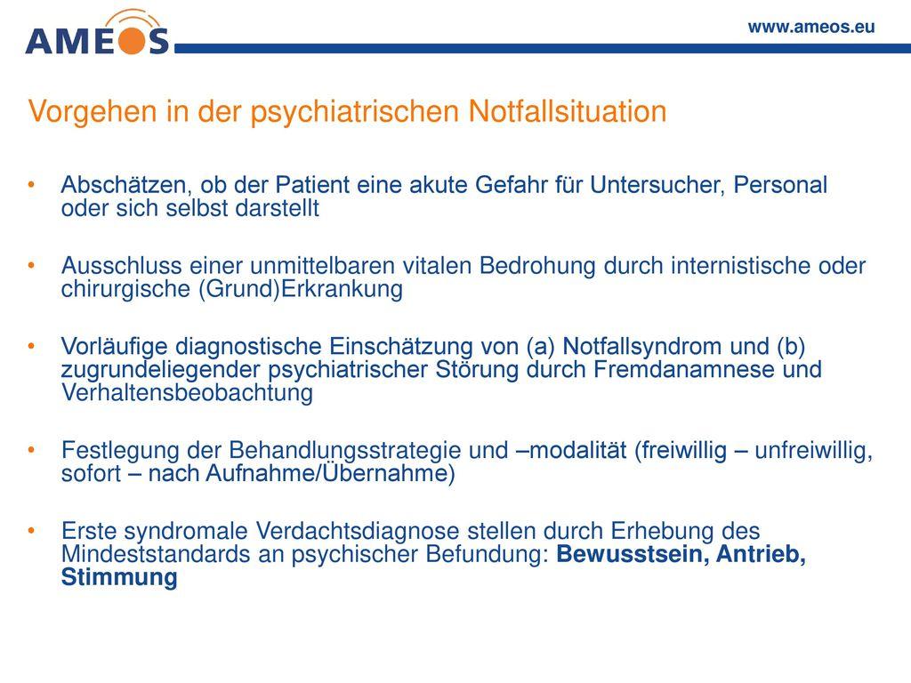 Vorgehen in der psychiatrischen Notfallsituation