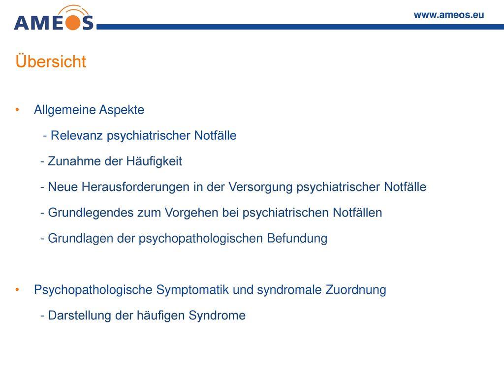 Übersicht Allgemeine Aspekte - Relevanz psychiatrischer Notfälle