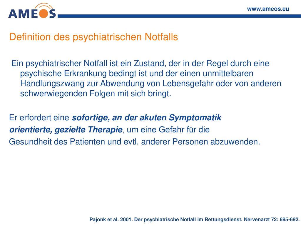 Definition des psychiatrischen Notfalls