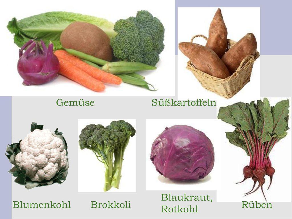 Gemüse Süßkartoffeln Blaukraut, Rotkohl Blumenkohl Brokkoli Rüben