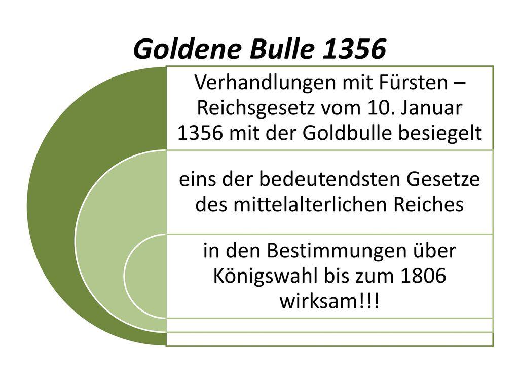 Goldene Bulle 1356 Verhandlungen mit Fürsten – Reichsgesetz vom 10. Januar 1356 mit der Goldbulle besiegelt.