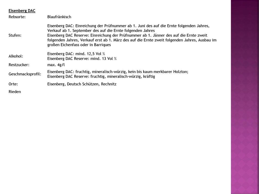 Eisenberg DAC Rebsorte: Blaufränkisch. Stufen: