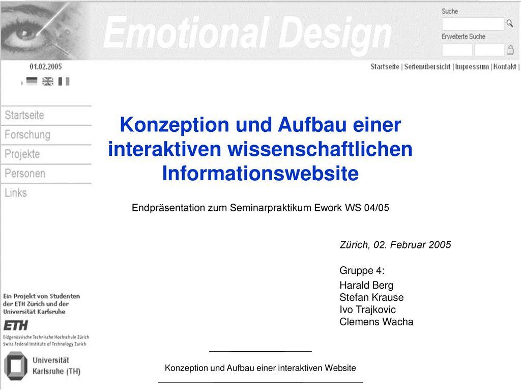 Konzeption und Aufbau einer interaktiven wissenschaftlichen Informationswebsite