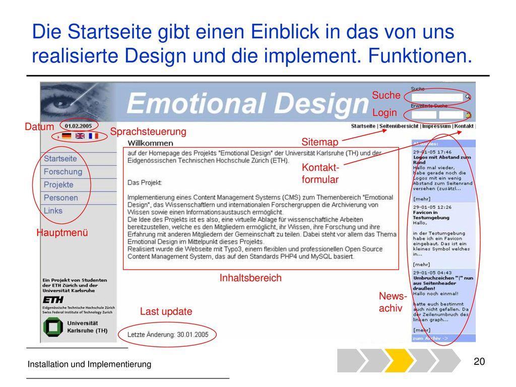 Die Startseite gibt einen Einblick in das von uns realisierte Design und die implement. Funktionen.