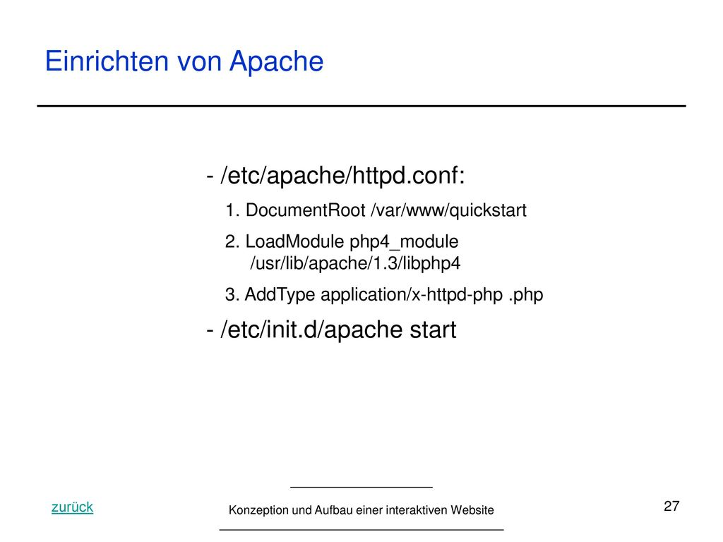 Einrichten von Apache - /etc/apache/httpd.conf: