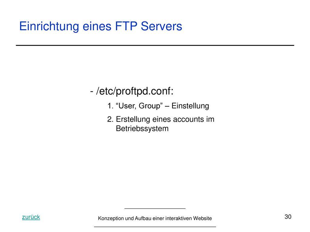 Einrichtung eines FTP Servers