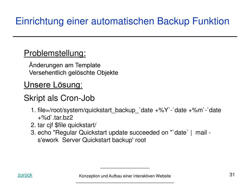 Einrichtung einer automatischen Backup Funktion