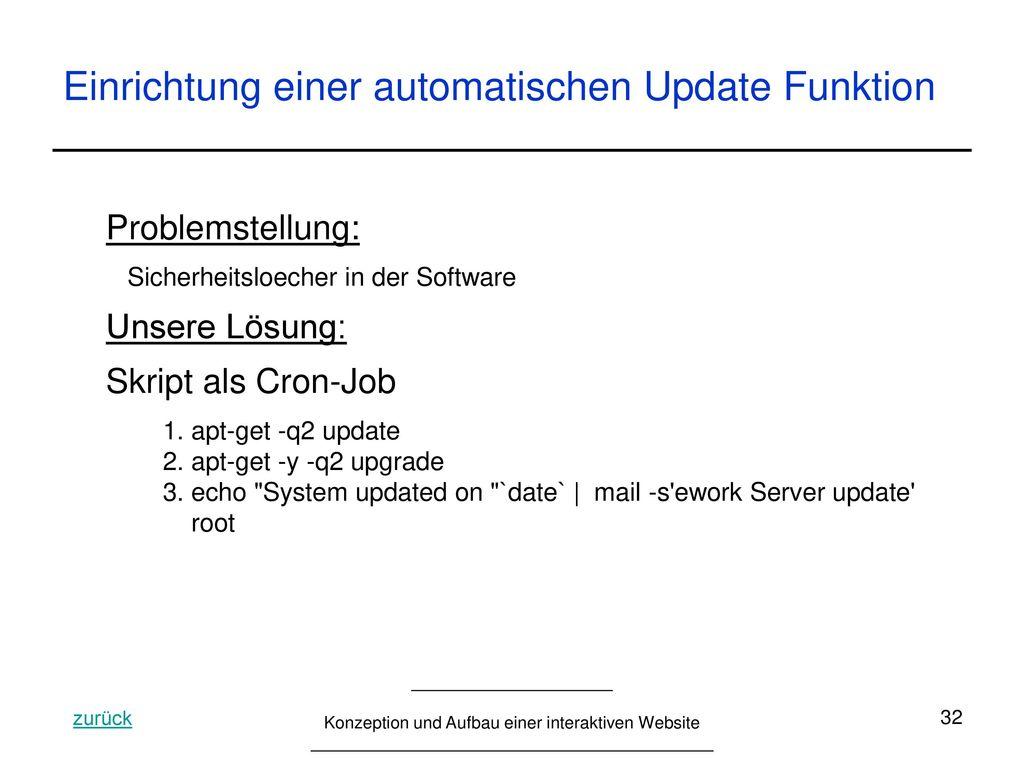 Einrichtung einer automatischen Update Funktion