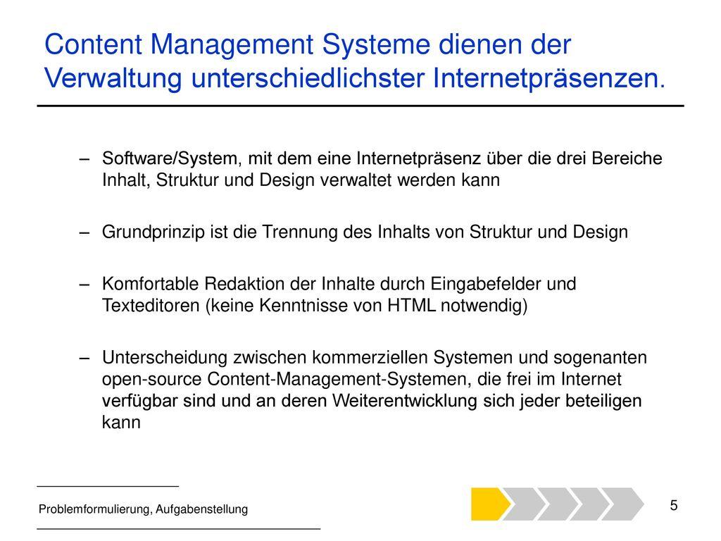 Content Management Systeme dienen der Verwaltung unterschiedlichster Internetpräsenzen.