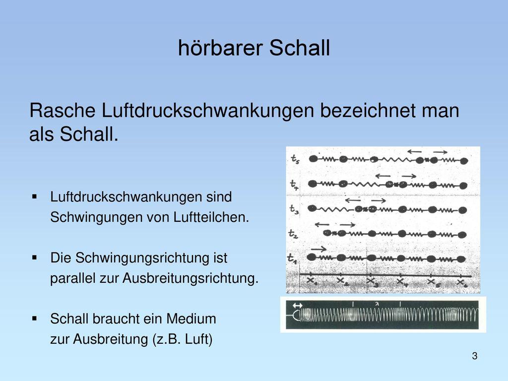 hörbarer Schall Rasche Luftdruckschwankungen bezeichnet man