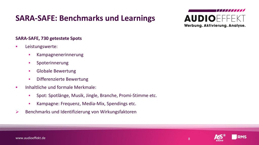SARA-SAFE: Benchmarks und Learnings
