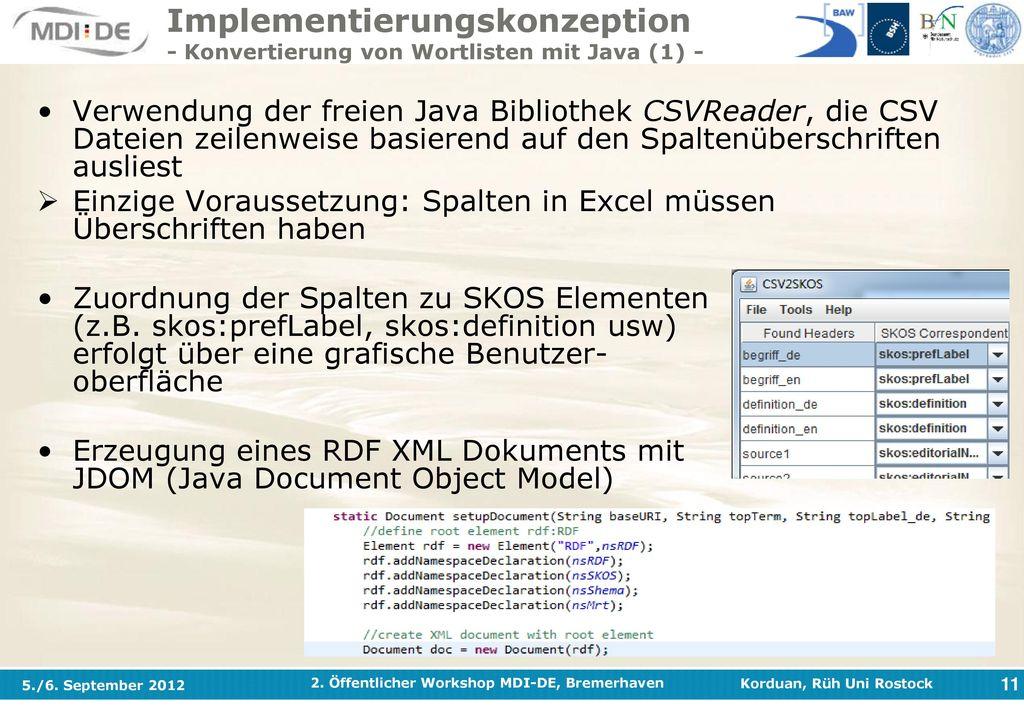 Implementierungskonzeption - Konvertierung von Wortlisten mit Java (1) -